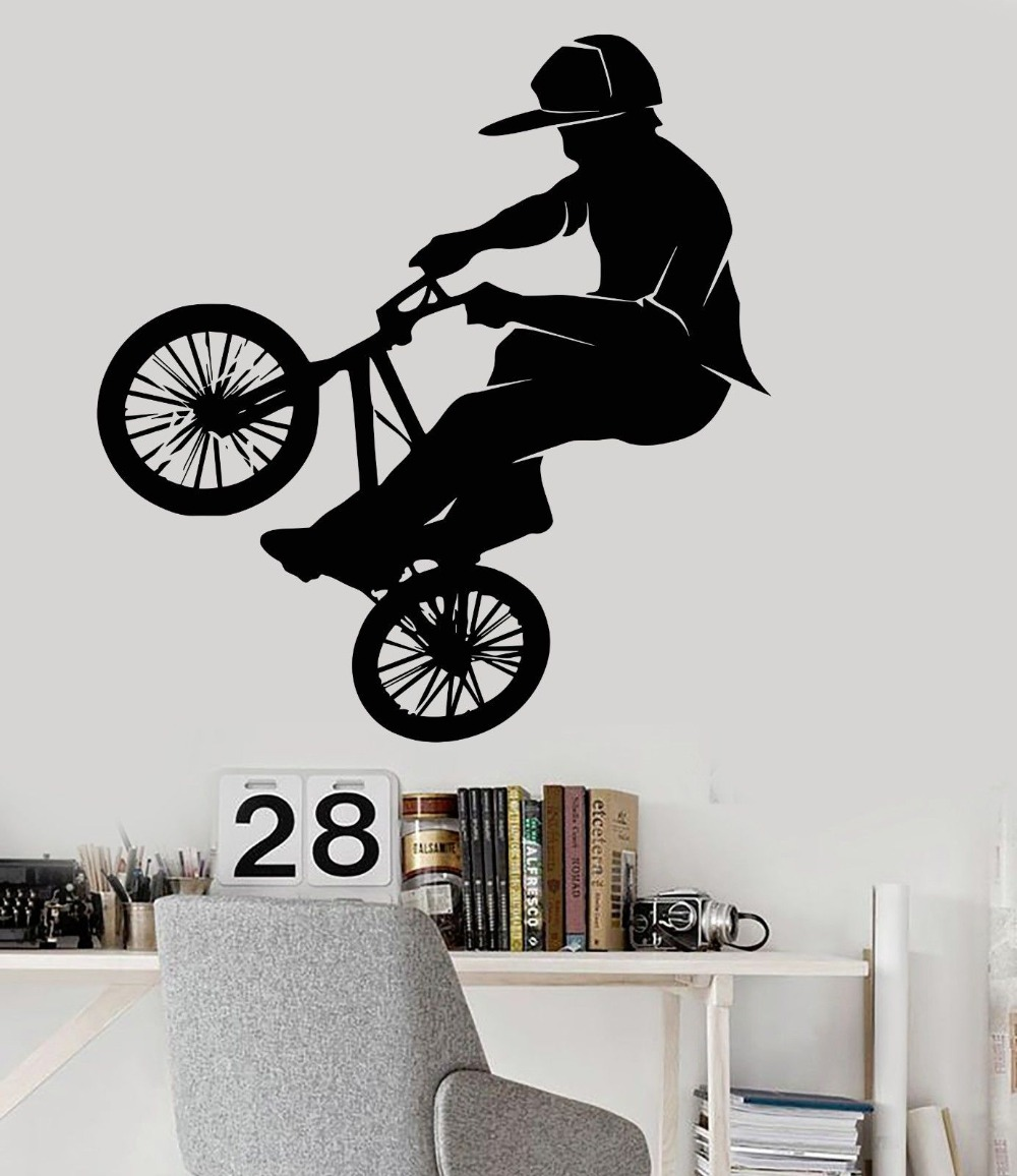 Fashion vinyl pvc wall decal bicycle bike bmx sport for Decoration autocollant mural