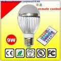 6pcs X E27 E14 b22 dimmable COB 9w rgb led bulb lamp with remote control