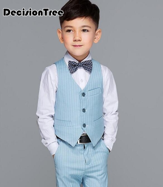 245441675b3b 2019 new boys kids blazers sets with bow tie boy vest suit for weddings  prom formal light blue tuxedos birthday party suits