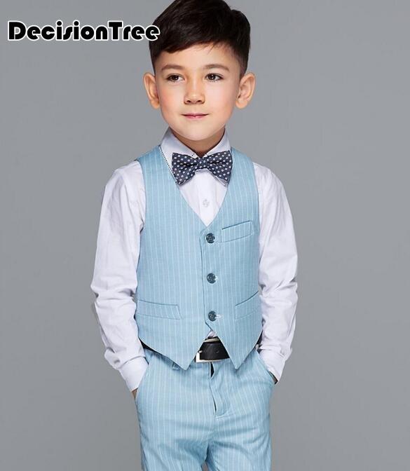 2019 nouveaux garçons enfants blazers ensembles avec noeud papillon garçon gilet costume pour les mariages bal formel bleu clair tuxedos costumes de fête d'anniversaire
