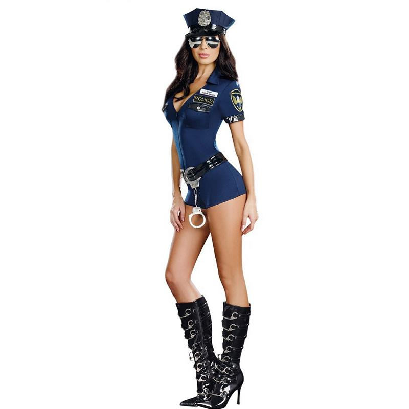 Adogirl Sexy Women Blue Zipper Bodycon Hottie Police Costume Dresses Cosplay Uniform Womans Make-up Party Clothing
