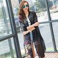 2016 novo estilo de Primavera e Verão lady sólidos flores impresso proteção solar cardigan chiffon longo