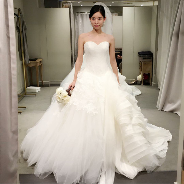High Quality 2017 Sweetheart Korea Style Organza Tulle Floor Length Wedding Dress Designer Bridal Gowns Fashionable