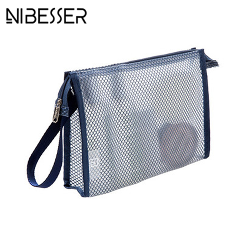 NIBESSER Transparent Cosmetic Bag Large Capacity Shower Wash Toilet Bag & Organizer Toothbrush Pouch Portable Travel Bag pvc transparent wash portable organizer case cosmetic makeup zipper bathroom jewelry hanging bag travel home toilet bag