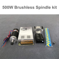 Brushless 500W CNC Spindle Motor Milling DC Spindle + 55MM Clamp + Stepper Motor Driver + Power Supply + ER16 Collet