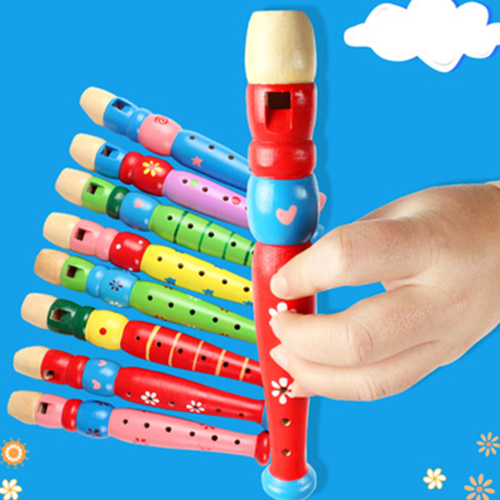 6-Hole Wooden Kid Flute Musical Instrument Early Education Develop Recorder Woodwind Musical Educational Toy For Children #H