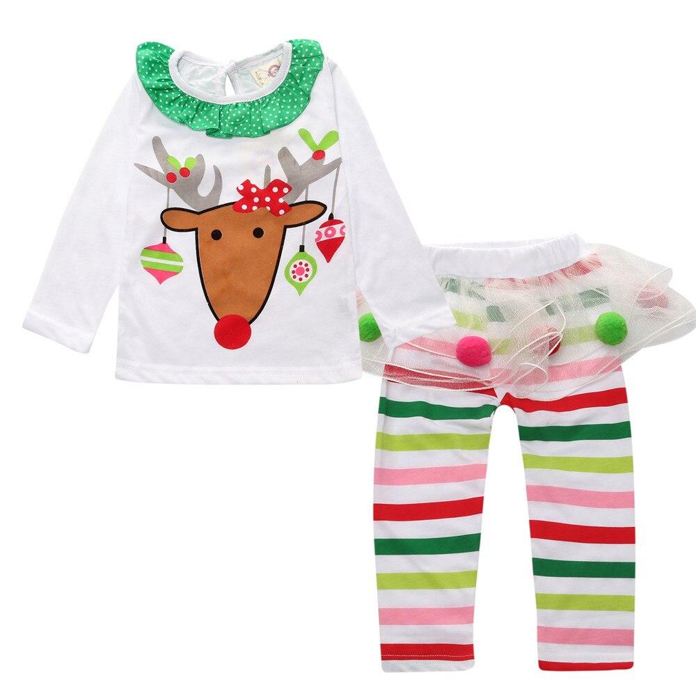 ΞFashion Girls Christmas White Top and Skirt Pants Set Kids Cotton ...