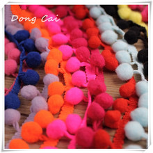 18 yards/lot Cheap Macrame Ball Pom Trims 2.5cm Wide Ball Ribbon Trim Decorative Lace Pompom Fringe Sewing