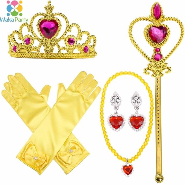 04df55a6d 6pcs Kids Girl Princess Dress up Costume Accessories Gloves Tiara Crown  Magic Wand Necklaces Set Princess Birthday Party Decor