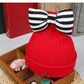 New Arrival Baby Hat Cute Striped Bow Kids Woolen Hat Children Winter Warm Crochet Knitted Cap Girls Photography Headwear Caps