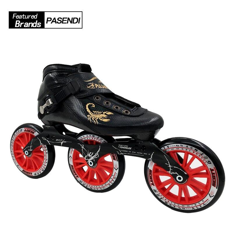 PASENDI 탄소 섬유 전문 성인 속도 스케이트 신발 롤러 스케이트 여성/남성 인라인 스케이트 신발 큰 3 바퀴 라운드 케이크