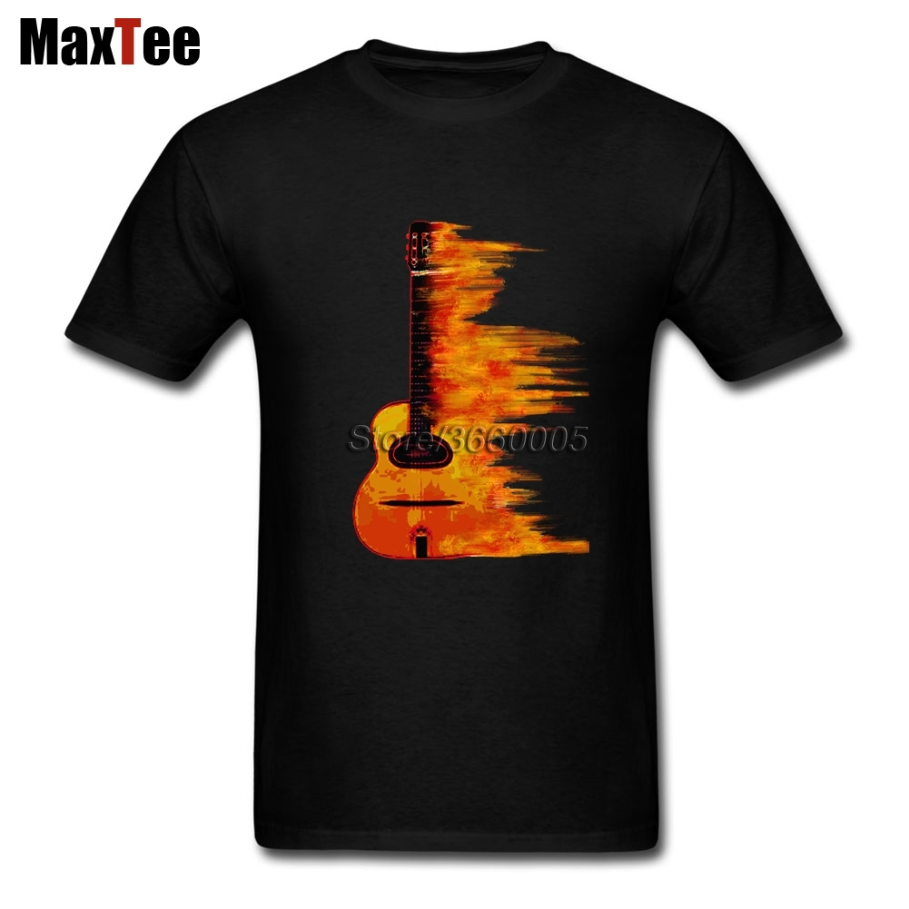 Burning Guitar T Shirt Men Male Classic Short Sleeve Fashion Custom XXXL Couple Flaming Acoustic Guitars T Shirts