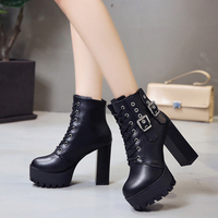 Europe and the United States autumn and winter new fashion 12CM high heels punk style sexy plus velvet high heel boots.