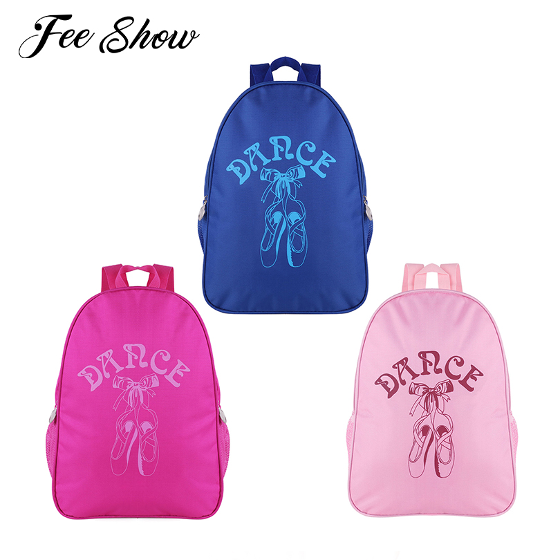 Lovely Kids Girls Ballerina Dance Ballet Bag Students School Backpack Dancing Toe Shoes Print Adorable Shoulder Ballet Dance Bag