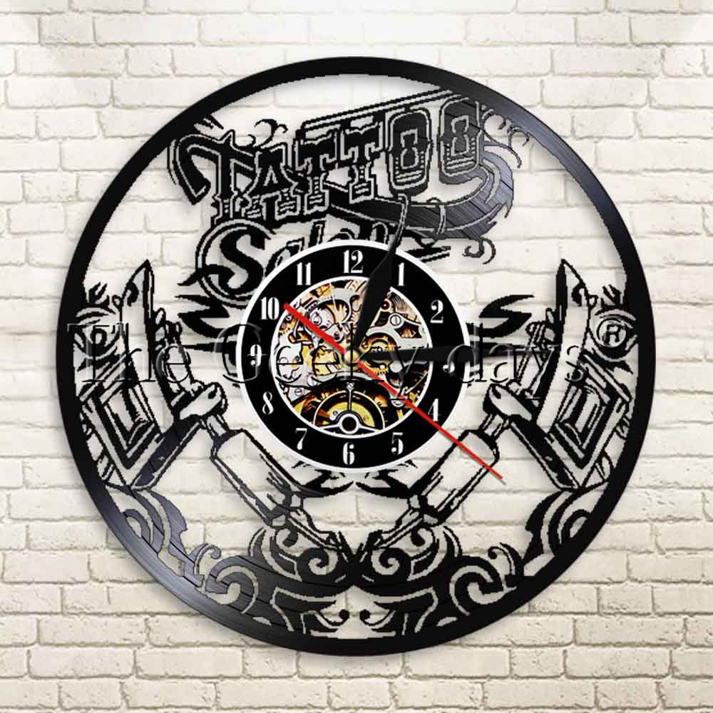 US $17 1 OFF 1Piece Tattoo Salon Vinyl Record Wall Clcok Tattoo Machine Wall Art Decor Best Gift Idea For Tattoo Shop With Remote Controller Wall