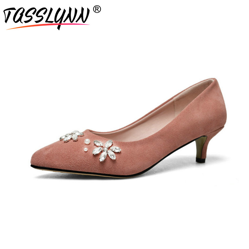TASSLYNN 2018 Women Pumps Elegant Crystal Cow Suede Thin High Heel Shoes Casual Pointed Toe Office Ladies Women Shoes Size 34-43 elegant women s round toe pumps with stiletto and suede design