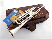 Professional Bach TR 197GS Trumpet Silver Plate Pipe Body Carved Bb Trumpet Drop Adjustable Trompeta Instrument