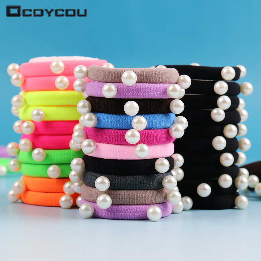 10 PCS lot Candy Fluorescence Colored Hair Holders High Quality Pearl Rubber Bands Hair Elastics Accessories Girl Women Tie Gum in Women 39 s Hair Accessories from Apparel Accessories