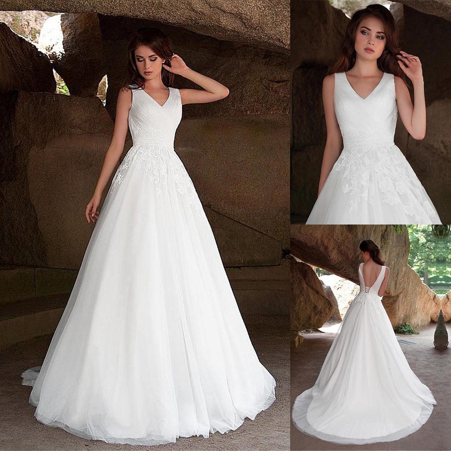 Fabulous Tulle V neck Neckline A line Wedding Dresses with Lace Appliques vestido de novia playa