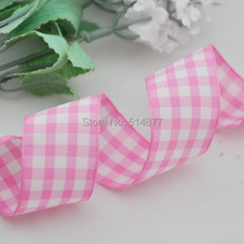 1 25mm Pink Color Tartan Plaid Ribbon Bows Appliques Sewing Crafts 10Y