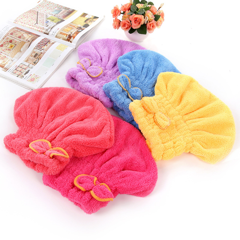 Double Layer Colorful Shower Cap Wrapped Towels Microfiber Bathroom Hats Solid Superfine Quickly Dry Hair Hat Bath Accessories
