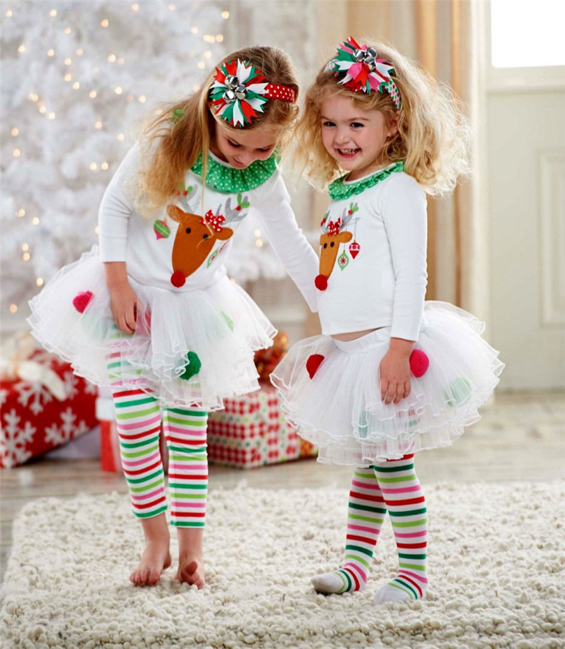 f5e2df9bdb69c Baby Girl Christmas Toddler Children clothing sets kids clothes Reindeer  kids clothes Top + Tutu Skirt + Legging Pants Set