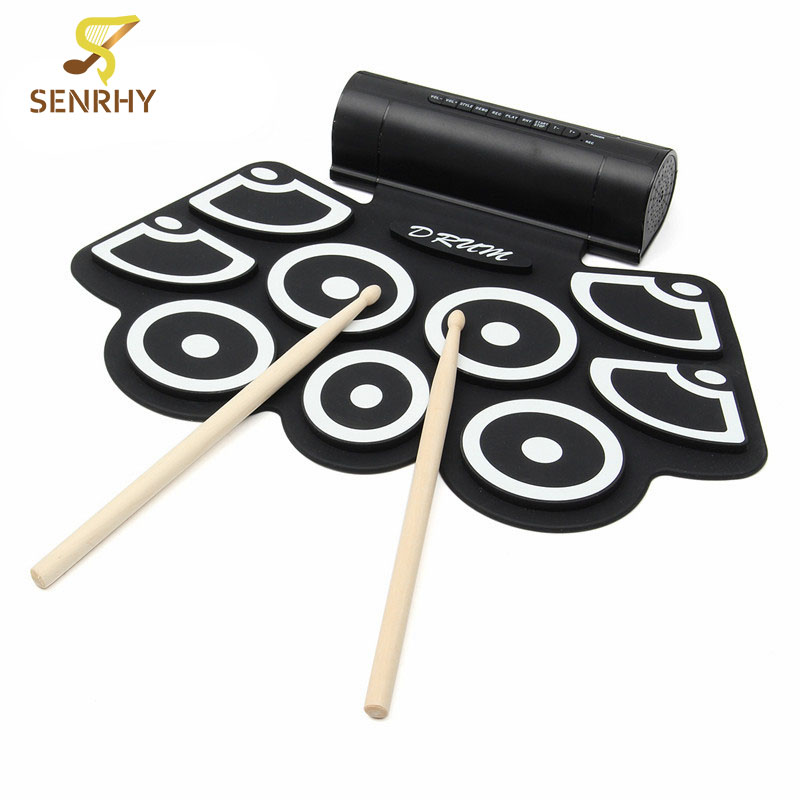 цена на SENRHY Portable 9 Beat Built-in Speaker Roll up Electronic Drum Pad Set with Pedals and Drum Sticks for Percussion Instrument