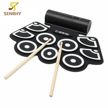 SENRHY Portable 9 Beat Built-in Speaker Roll up Electronic Drum Pad Set with Pedals and Drum Sticks for Percussion Instrument