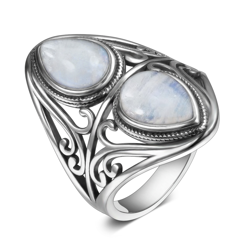 925 Sterling Silver Rings Original Design Vintage Natural Rainbow Moonstone Ring For Women Men Female Fine Jewelry Gifts