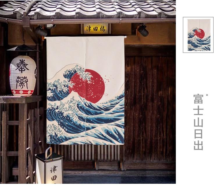 Japanese Taiwan Chinese Noren Mount Fuji And Sunrise Thicken Door Curtain  Japan Fujisan Fujiyama Portiere Hangings Door For