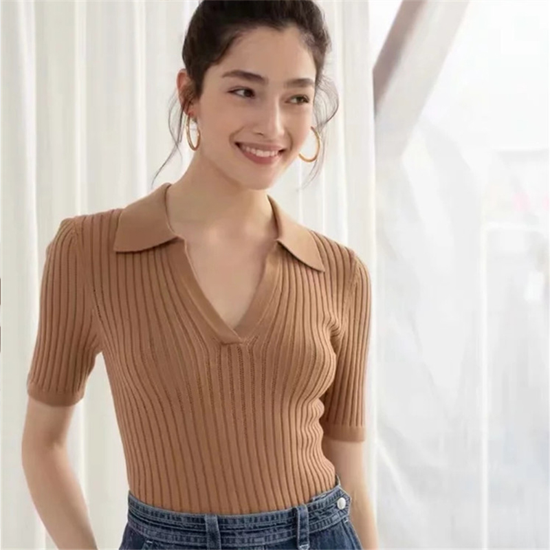 Women Elegant And Casual Polo Plunge Neck Short Sleeve Knitted Shirt Crop Top