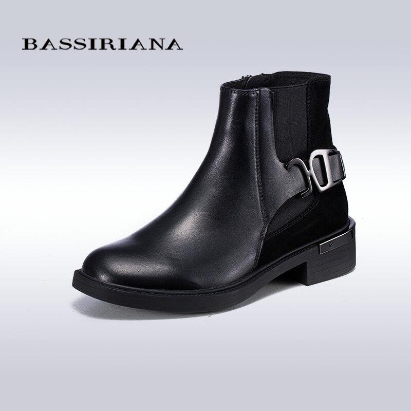BASSIRIANA Grande Taille En Cuir V ritable Femmes Bottes Moto Filles  Casual Chaussures de Marche Hiver