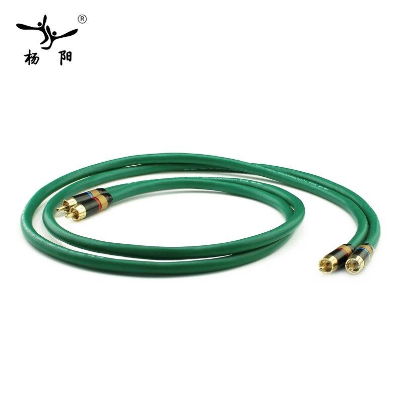 YYAUDIO 2328 Hifi argenté 2RCA Câble Haute Qualité 6N OFC HIFI RCA Mâle à Mâle Câble Audio