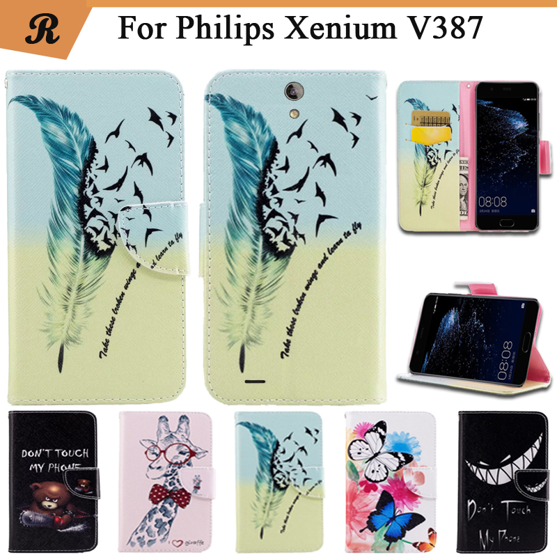 Painted Wallet Flip Case For <font><b>Philips</b></font> Xenium <font><b>V387</b></font> PU leather Card Slot Stand bag High Quality Cover fundas with Strap image