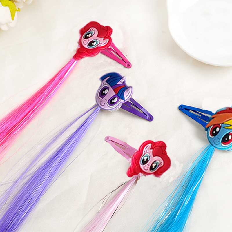 Lovely Little Horse Cartoon Wig Hair clips Unicorn Hairpin Kids Girls hair accessories with Long Colorful Wig Decoration T0042 2pcs 1lot little ponys princess braid wig hair clips hairpin headdress party hairgrips cosplay hair accessories headband