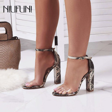 Sexy Transparent Snake Pattern Womens Sandals NIUFUNI 2019 New High Heels Thick Heel Roman Shoes Buckle Ladies
