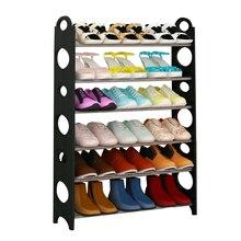 Полка для обуви постоянный регулируемый 6 уровня обуви стойки хранения Организатор экономия пространства черный