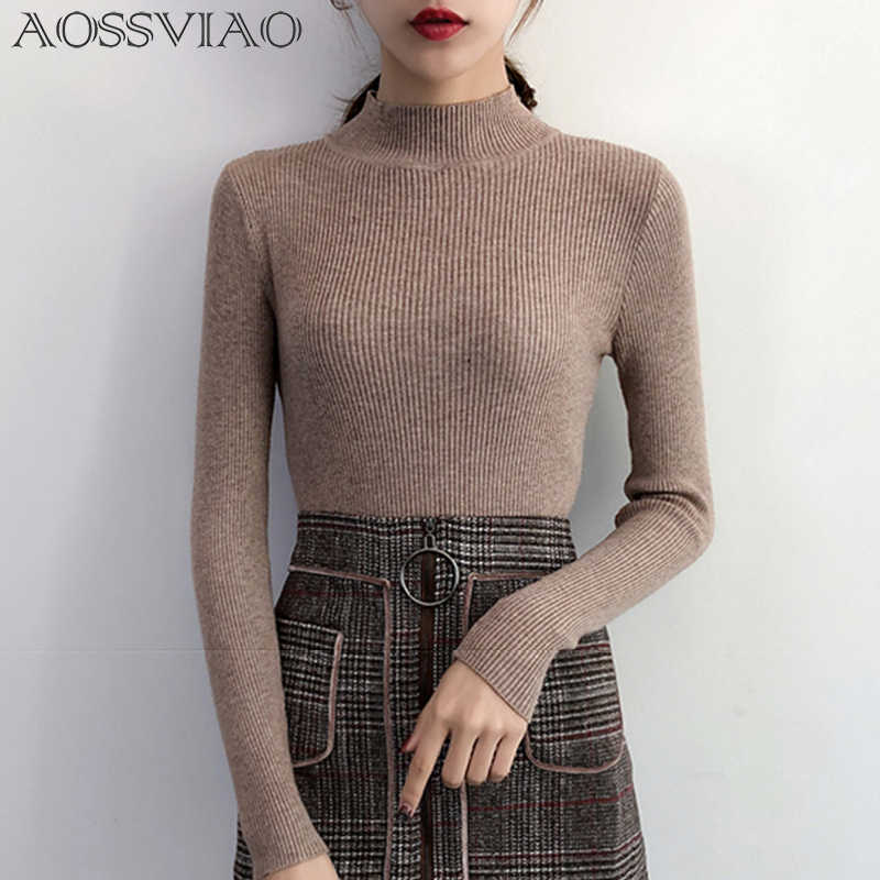 2019 Autumn Winter Women Pullovers Sweater Knitted Korean Elasticity Casual Jumper Fashion Slim Turtleneck Warm Female Sweaters