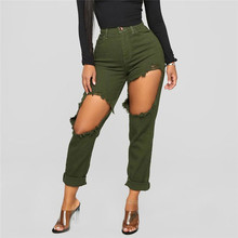 1c36657d207 Army Green ripped jeans for women Stretch Jeans Female High Waist Stretch  Slim Sexy Pencil Pants