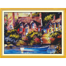 Everlasting love Christmas Fairy-tale cottage Ecological Chniese cotton Cross Stitch 11 CT 14 stamped Printed New store sales