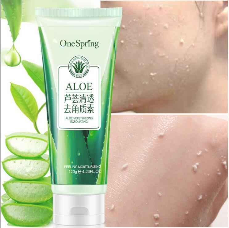 120g Aloe Exfoliating Facial Scrubs Cream Face Scrub Gel Skin Whitening Peeling Facial Cleanser Dead Skin Remover New