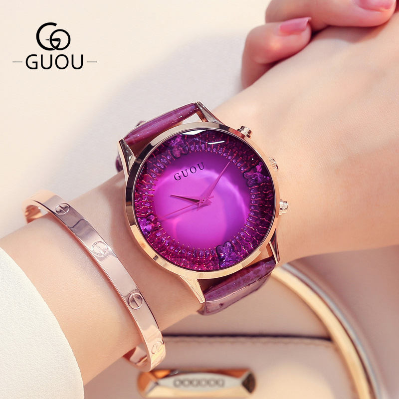 GUOU Brand 2018 Women Ladies Quartz Watch Large Dial 44MM Luxury Rose Gold Rhinestone Leather Women's Watches Gift Wristwatches cute rose gold crystal flower thin strap small dial leather quartz women ladies wristwatches wrist watch gift