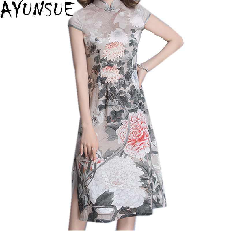 AYUNSUE Spring Summer Dress 2018 Chinese Style Robe Vintage Dresses Slim Womens Clothing Lady Floral Dress Vestidos Mujer WXF092