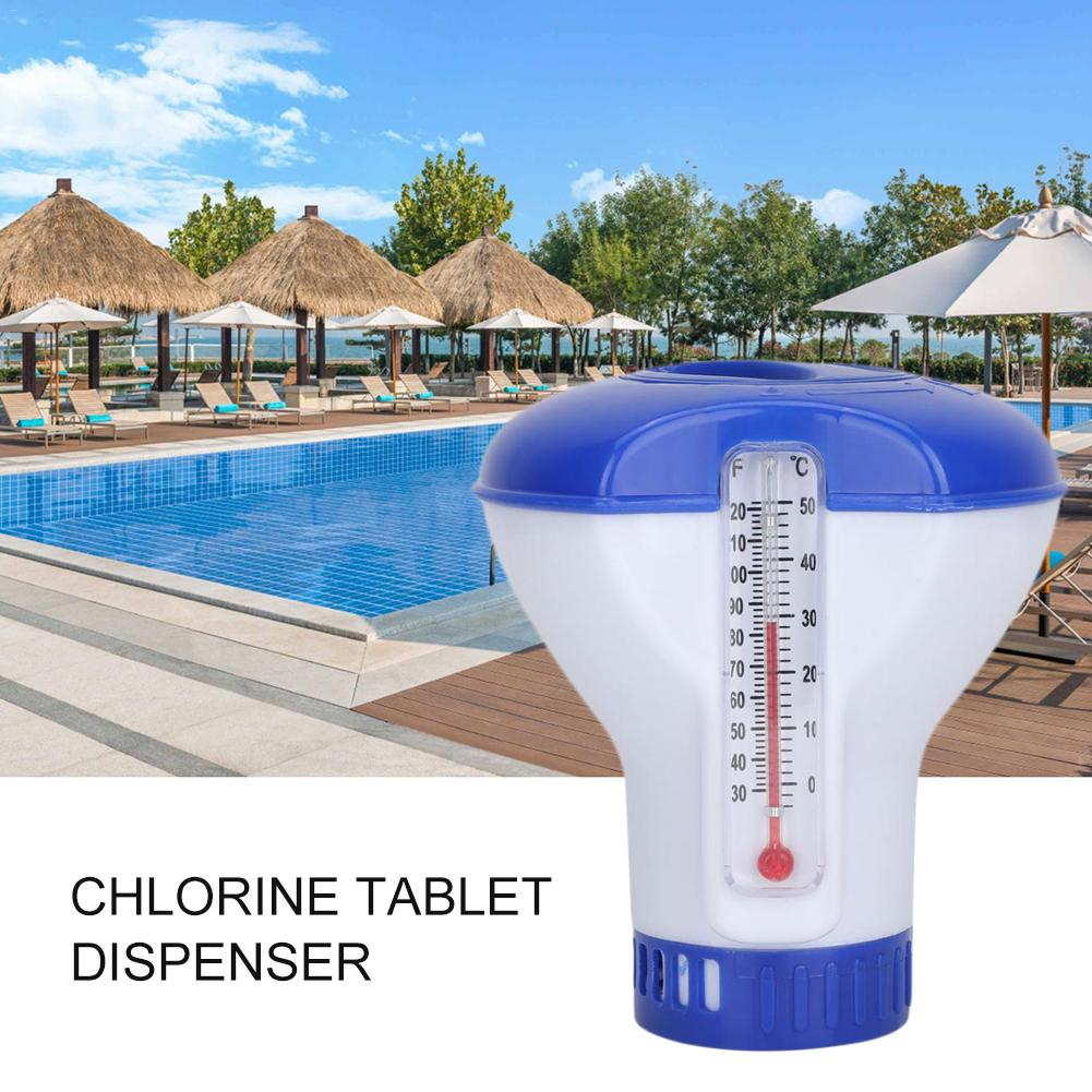 2 In1Swimming Pool Floating Chemical Chlorine Dispenser With Thermometer For Swimming Pool Or Spa Disinfect Afloat Pill Case