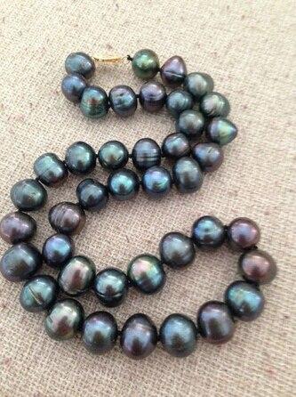 11-12mm barroco collar de perlas tahitian negro verde
