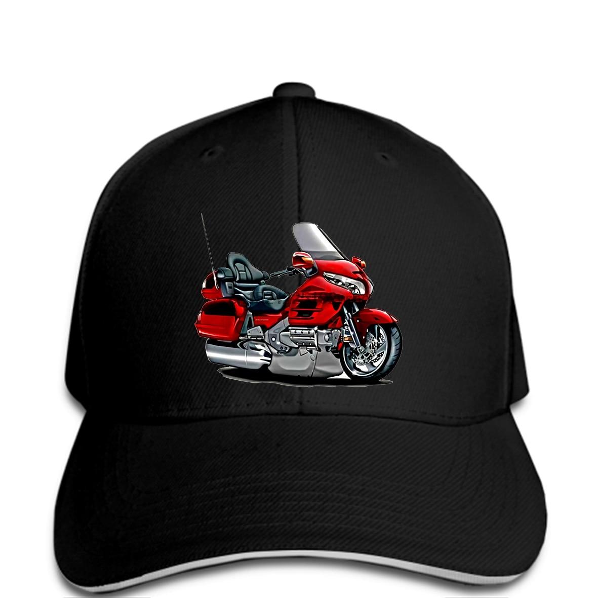 Men Goldwing Red Biker Dark Cap