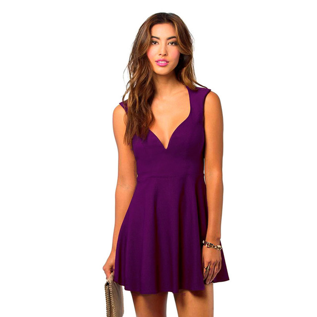 614c1ae99c68 Women Summer Dress Purple Red Sexy V Neck Sleeveless Ruched Above Knee Mini  A Line Casual