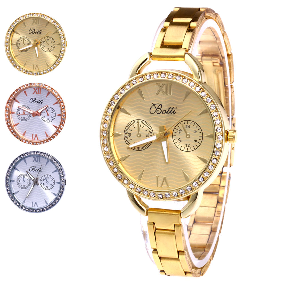Fashion Women Simple Quartz Watch Casual Rhinestone Case Thin Stainless Steel Band Wristwatch For Lady Mother Gift @17