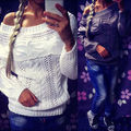 New Fashion Sexy Women Crochet Knitted Sweater Cowl Neck Hollow Out Casual Jumper Pullovers Off Shoulder Tops Outwear