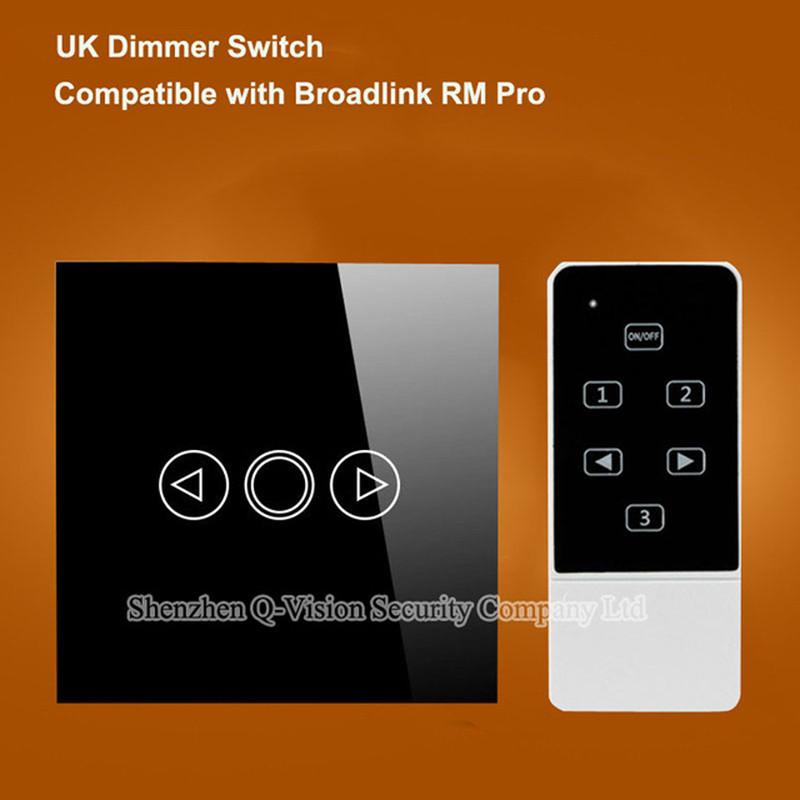 Smart Home Wireless UK Remote Control Wall Light Dimmer Switch Touch Luxury Glass via Broadlink RM2 RM Pro Geeklink RF433MHZ